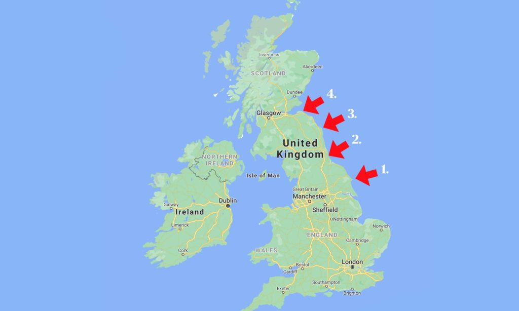 Could you approximately estimate where the border between England and Scotland is located in this map