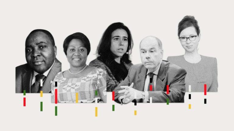the permanent ambassadors of Gabon (Michel Xavier Biang), Ghana (Martha Ama Akyaa Pobee), UAE (Lana Nusseibeh), Brazil (Mauro Vieira) and Albania (Besiana Kadare) to the United Nations.