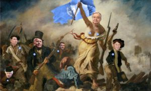This is a photo of Guterres photoshopped on the painting Liberty Leading the People.
